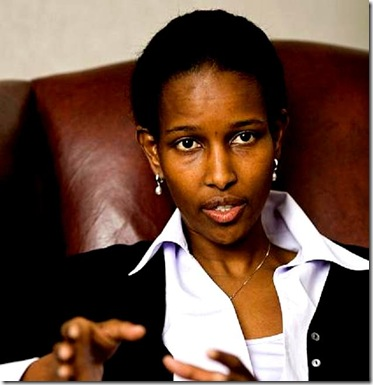 Somali-born Ayaan Hirsi Ali gestures during an interview with the Associated Press, in The Hague, The Netherlands, Wednesday, April 26, 2006. Ayaan Hirsi Ali breaks all Dutch molds. A former refugee from Somalia who rose to political stardom, she calls her country's asylum policy a failure. She is a Muslim who rejects the Prophet Muhammad as a guide for today's morality. She seeks blunt confrontation rather than the quiet consensus of traditional politics. The 36-year-old legislator still lives under the constant threat of death 18 months after her friend and collaborator, filmmaker Theo van Gogh, was slain by an Islamic radical, and says she is resigned to being under permanent guard.  (AP Photo/ Fred Ernst)