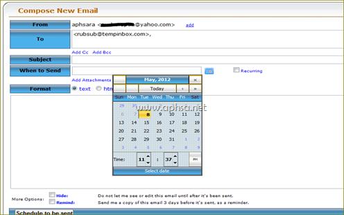 การใช้งานตั้งเวลาส่ง e-mail