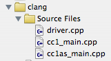Clang executable source files
