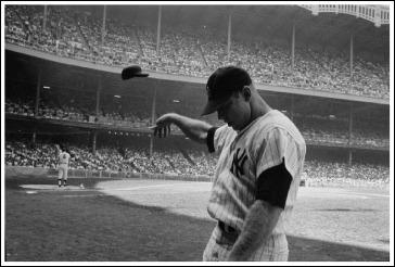 Mickey Mantle having a bad day at Yankee Stadium, 1965