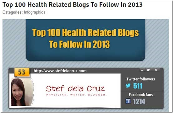 Stef dela Cruz Top 100 Health Blogs