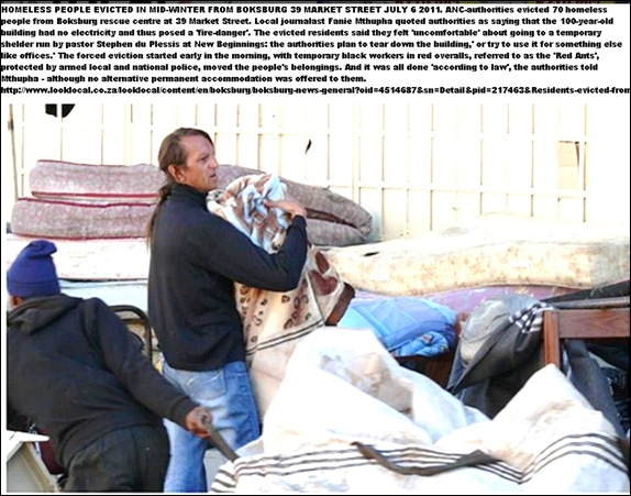 AFRIKANER BOKSBURG HOMELESS EVICTED IN WINTER JULY 52011
