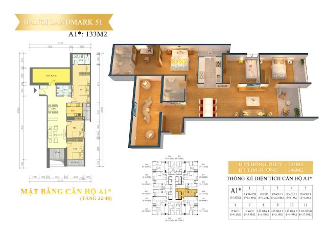 Căn hộ 3 phòng ngủ chung cư hanoi landmark 51