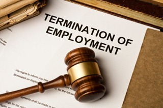 Gavel on termination of employment document