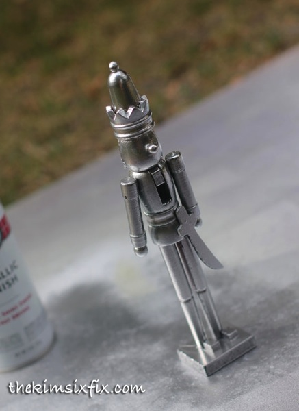 Spray paint nutcracker silver