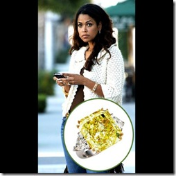 Tracey Edmonds With Her Yellow Diamond Engagement Ring