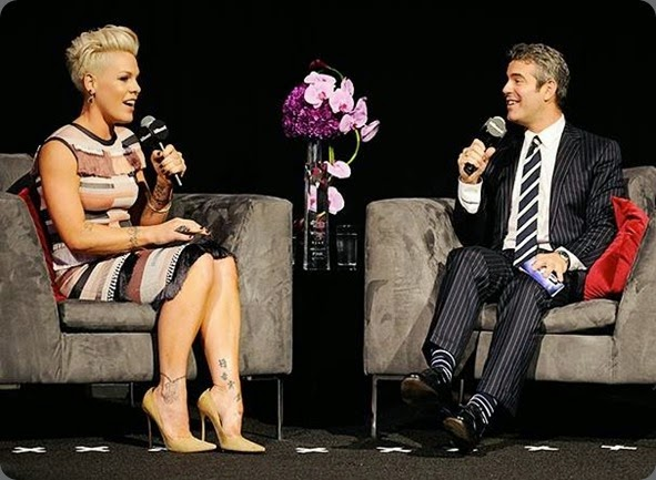 famous florisity 1604570_733469636665340_348516607_n Andy Cohen and Pink at the Billboard Women in Music event