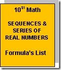 10th Maths Sequences formula list