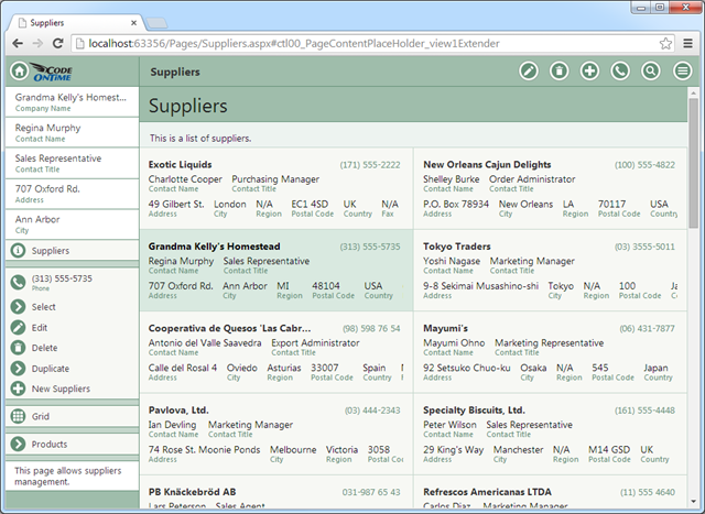 A two column list of items in a web app with Touch UI.