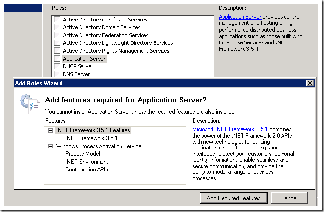 """Adding the """"Application Server"""" role."""