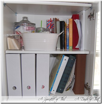 Shelf before magazine holder makeover{A Sprinkle of This . . . . A Dash of That}