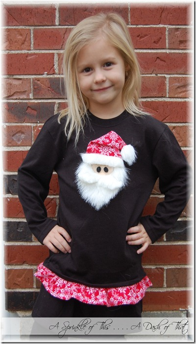 Santa shirt with ruffle bottom tutorial {A Sprinkle of This . . . . A Dash of That}
