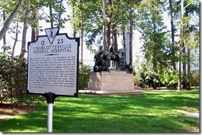 Charlottesville General Hospital marker in front of George Roger Clark sculpture