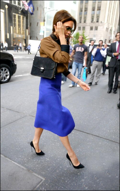 victoria beckham brown shirt with black collar and cuffs blue high waist long slit skirt 2 ol