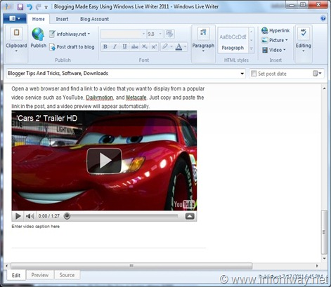 windows live writer adding video