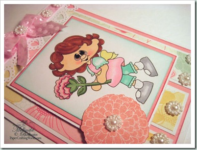 girl flower digital stamp clipart emcard cu500