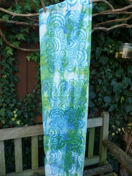 Swirls print blue