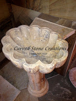 La Concha Pedestal Sink, Honed Golden Orient Travertine