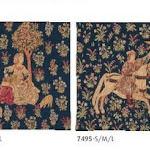 Dekoracje gobelinowe z motywem ogrodu o bogatej ornamentyce.