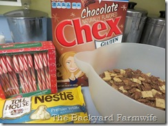 Chocolate Chocolate Candy Cane Chex Mix - The Backyard Farmwife