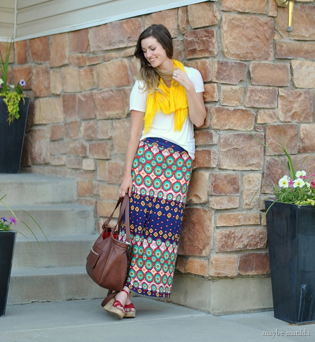 white tee + colorful maxi + yellow scarf // www.maybematilda.com