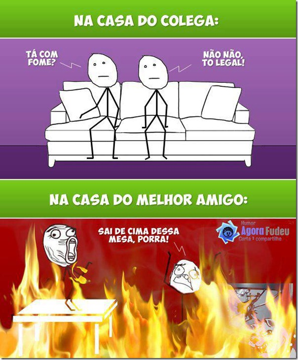 Na casa do colega VS Na casa do amigo