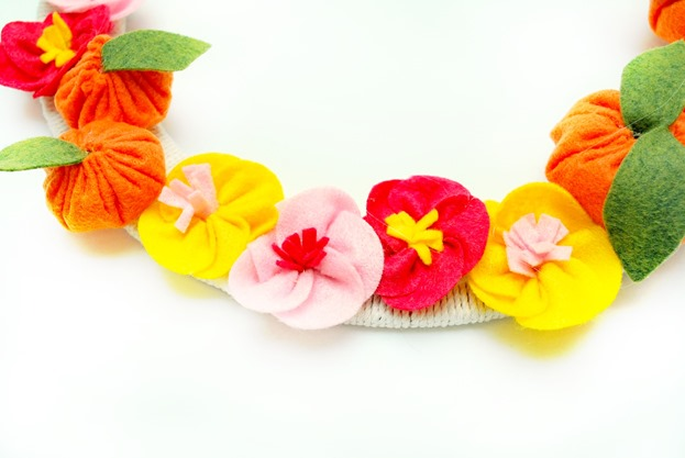 cherry blossom and tangerine wreath