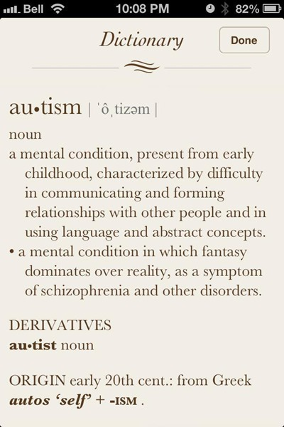 Oxford Dictionary definition of autism
