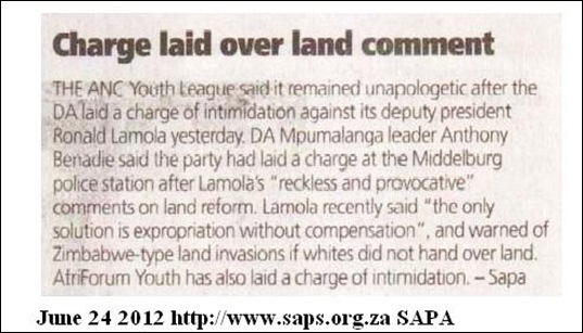 ANC WAR PLANS DA LAYS COMPLAINT RUSTENBURG SAPS AGAINST LAMOLA JUNE 24 2012