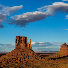 Monument Valley by Christina Heinle - Landscapes Caves & Formations ( navajo, monument valley, sunset, mittens, dusk )