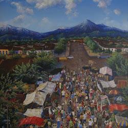 Carlos Aceituno (chileno)-Feria de san Fernando-99.5 x 80,5 cm-1995