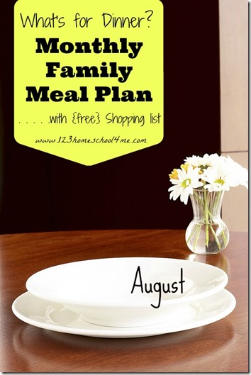 Meal Planning: August Men with weekly shopping list