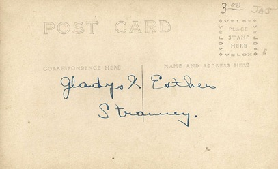 Postcard Gladys and Esther Strawrey Twins DL Antiques back