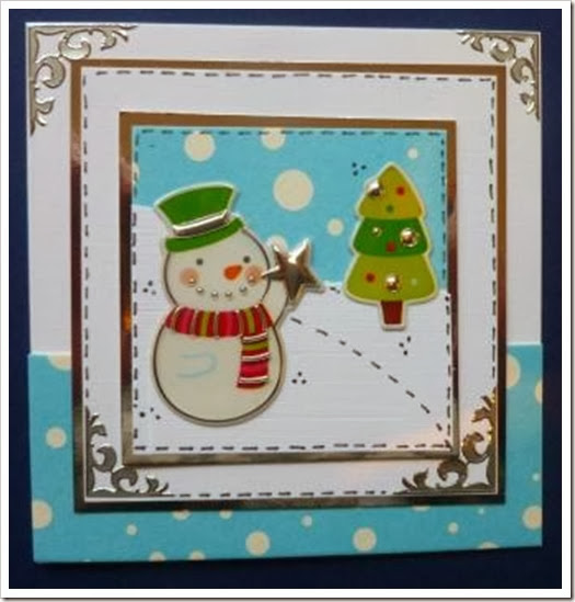 snowman sticker card with snowy paper