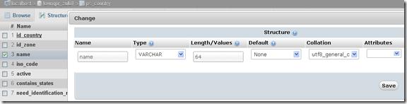 Mengisi field baru database control Panel