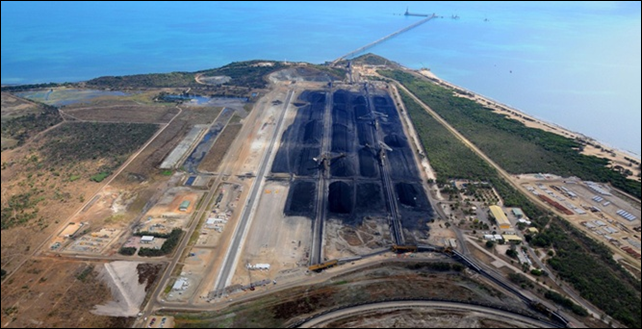Aerial view of Abbot Point Coal Terminal in Queensland, Australia. The Abbot Point Coal Terminal has been exporting coal since 1984 and is one of Queensland's five major coal export terminals. Expansion plans threaten the Great Barrier Reef. Photo: Aurecon