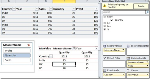 2 Table names in Excel 2010