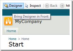 Bring Designer in Front button will bring the Designer window to focus.