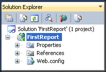 Solution Explorer for the First Report project