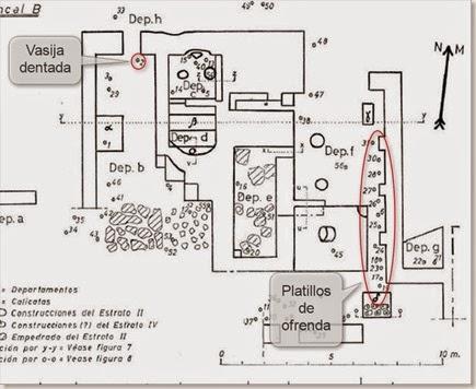 Plano del templo de la Escuera y lugar de aparición de algunas piezas arqueológicas
