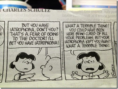 Peanuts Lucy: iatrophobia
