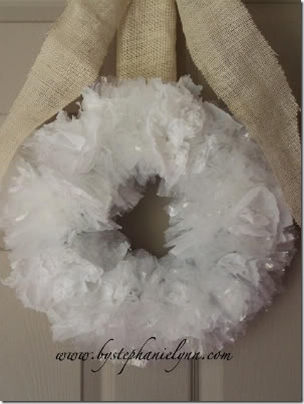 Winter wreath--Wreath made from recycled plastic bags