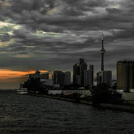 Toronto From Cherry St by Nick Kelleher - City,  Street & Park  Skylines ( clouds, skyline, canada, toronto, lake, evening, light )