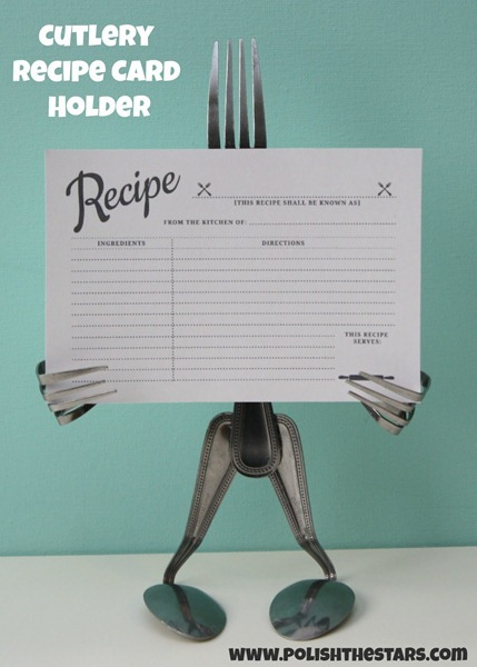 cutlery recipe card stand