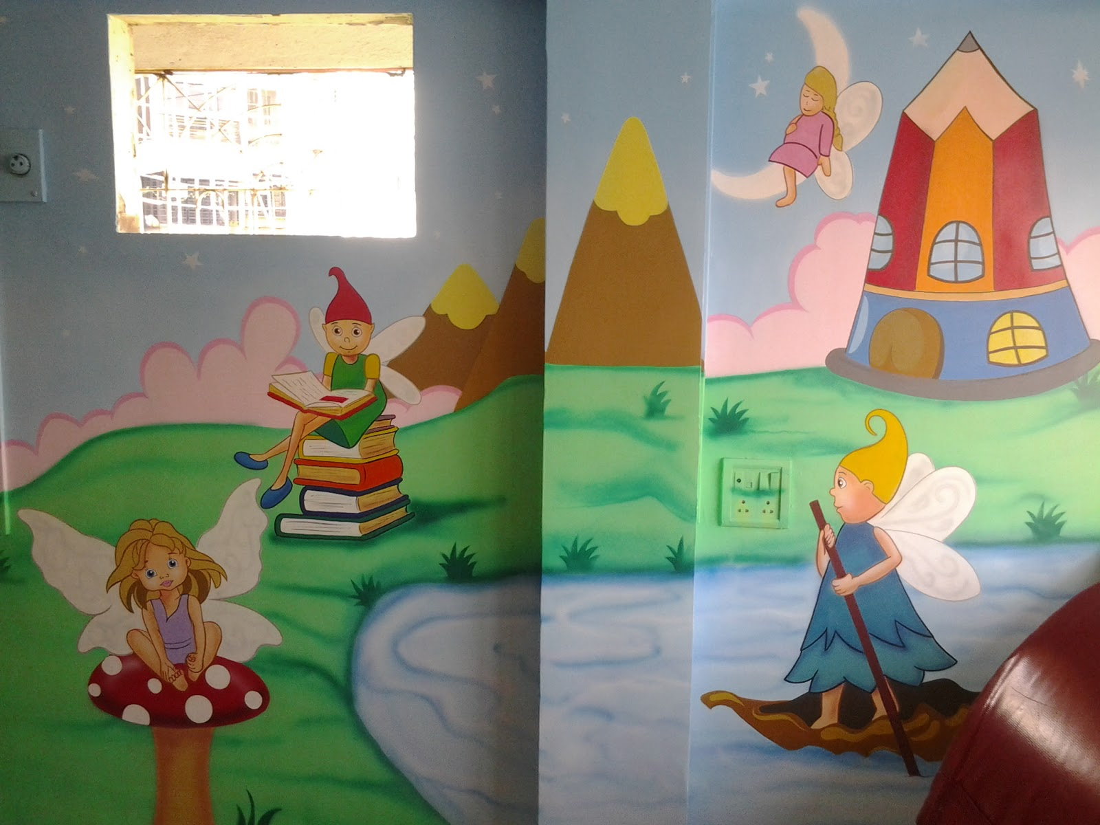 School wall painting thana mumbai maharshtra for Educational mural