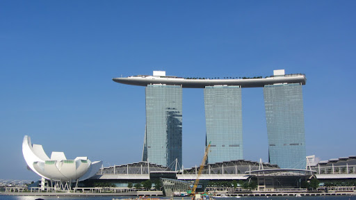 The Marina Bay Sands Casino and Hotel with its distinctive SkyPark connecting the three towers.