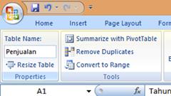 Memberi nama table dalam Excel