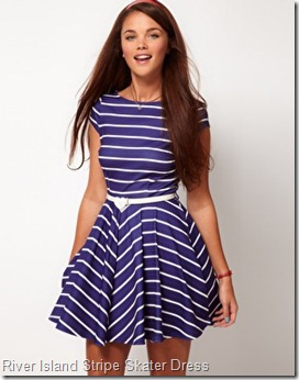 River Island Stripe Skater Dress With Heart Belt