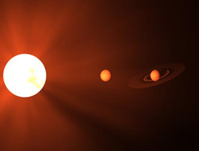 ilustração da estrela anã vermelha Kapteyn e os dois exoplanetas