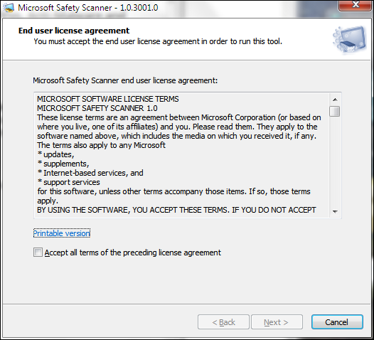 Microsoft Safety Scanner Screenshot